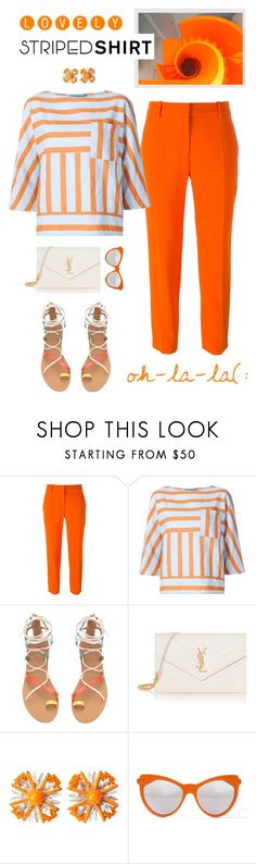 """""""Bright Striped Shirt"""" by shortyluv718 ❤ liked on Polyvore featuring STELLA McCARTNEY, M.i.h Jeans, H&M, Yves Saint Laurent, Miriam Haskell, Zanzan, orange, sandals, summerstyle and stripedshirt"""