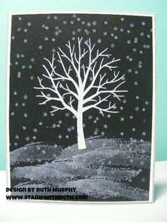 Snowy Night Sheltering Tree. White Kraft ink and white EP on tree. White Kraft ink on ground and snow with no embossing.