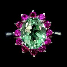 A Vintage 3.6CT Oval Cut Green Tourmaline & Ruby Ring   Love!!!