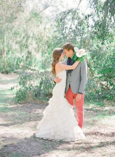 Groom in Coral Pants