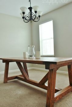Cool 30+ Rustic Farmhouse Table Ideas To Use In The Decor #refurbishedtable Farmhouse Table Plans, Farmhouse Dining Room Table, Diy Dining Table, Farmhouse Furniture, Furniture Plans, Table Furniture, Dining Rooms, Table Bench, Farmhouse Style