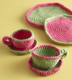 Small Cake Plates - Perfect tea set to go with crochet food or felt food