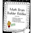 """This set of 30 """"Brain Builder Math Riddles"""" contains problem solving activities that involve number sense, place value, time, money, geometry, grap..."""