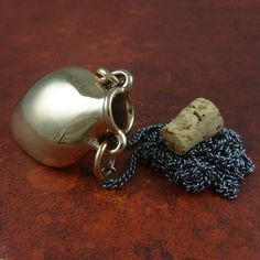 """Bottle Necklace - Bronze Amphora Necklace on 24"""" Gunmetal Chain by LostApostle on Etsy"""