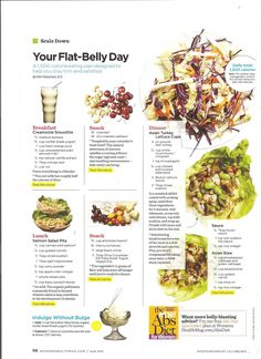 Outline of a flat belly diet day! Find your next breakfast,lunch, dinner or snack.