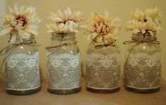 These elegant lace over burlap sleeves are the perfect addition to your wedding tables. Both elegant and rustic, they can be used for country weddings or sophisticated wedding themes. This set of 12 burlap and lace sleeves will fit quart size Ball jars. Twine will be included to tie around the top portion of the jars. Flowers are not included. Mason jars are not included. Shown in pictures is ivory lace. I do have a white version of this exact lace. Let me know if you want white.