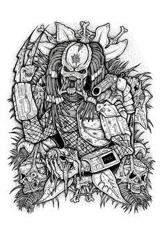 alien predator vs xenomorph drawing simple coloring drawings yautja colorear printable dibujar deadpool books russell adult tattoo cartoon