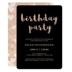 Faux Rose Gold and Black Birthday Party Card