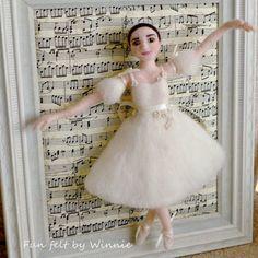 Needle felted Ballerina in antique white dress by FunFeltByWinnie