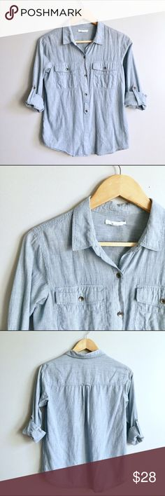 Madewell Top Soft denim Eliot burton down to from Madewell. Striped. Buttons all the way down but last button hidden. Sleeves can be worn long or cuffed. Across the chest 19 inches. Shoulder to hem 24 inches. Madewell Tops Blouses