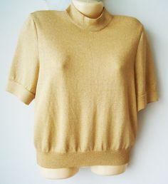St. John Basics Gold Metallic Santana Knit Short Sleeved Sweater Size M Medium #StJohn #KnitTop #Career