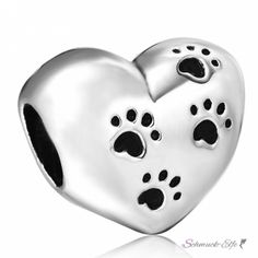 Bead Perle Herzchen mit Pfoten