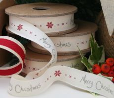 East of India Merry Christmas ribbon with snowflake detail