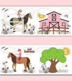 FARM ANIMAL NURSERY Girl Pink Barnyard Alphabet Wallpaper Border - Barnyard nursery wall decals