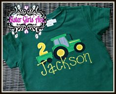 Tractor and Wagon Number Birthday Shirt by SisterGirlsAvenue, $24.00