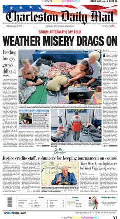 Storm recovery efforts drag on into Independence Day on the front page. Power restoration continues, but food pantries are hit hard trying to keep pace with demand. On a brighter note, the Greenbrier Classic ramps up with resort owner Jim Justice giving credit to his staff, volunteers for keeping the PGA event on track.