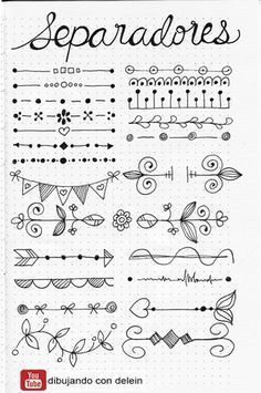 Bullet Journal Doodles: 20 Amazing Doodle Ideas For Beginners & Beyond! - Meraadi These bullet journal doodles and doodle tips and ideas are exactly what you need to learn how to doodle. Perfect for beginners and more advanced doodlers! Bullet Journal School, Bullet Journal Page, Bullet Journal Headers, Bullet Journal Banner, Bullet Journal Notebook, Bullet Journal Inspiration, Bullet Journals, Bullet Journal Doodles Ideas, Bullet Journal Dividers