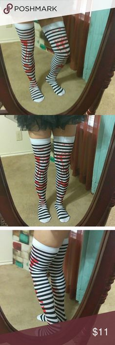 ❗️❗️New WALKING DEAD Stripe Thigh High Stockings ❗️see last pic for item description ❗️new in package Boutique Accessories Hosiery & Socks