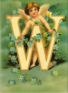 Letter W Initial and Cupid Clapsaddle Alphabet Repro Postcard