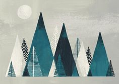 print & pattern: WALL ART - mel smith - Zu Tisch bei Blumenthals - Re-Wilding Geometric Mountain, Mountain Art, Floral Wall Art, Art Mural, Art Plastique, Geometric Art, Flat Design, Diy Art, Layout Design