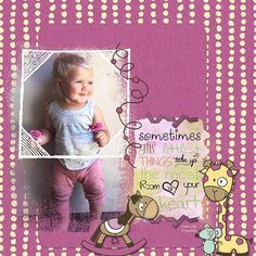 Baby Album kit by SoMa Designs available at Oscraps: [ link ], digital scrapbooking & artistry Baby Album, Baby Design, Digital Scrapbooking, Whimsical, Joy, Frame, Pink, Colorful, Baby Scrapbook