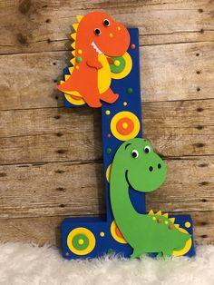 Dinosaur Name Dinosaur Letters Dinosaur Party Decor Dinosaur First Birthday, First Birthday Themes, Baby Boy Birthday, Dinosaur Party, Birthday Party Decorations, 1st Birthday Parties, First Birthdays, Dinosaur Decorations, Dinosaur Dinosaur