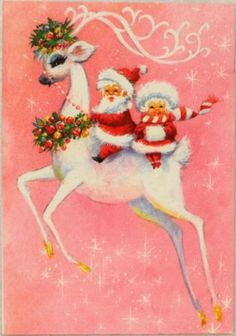 #1693 60s Unused Mod Era Deer & Santa Pink-Vintage Christmas Card-Greeting