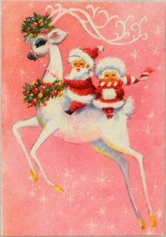 #1693 60s Unused Mod Era Deer & Santa Pink-Vintage Christmas Card-Greeting