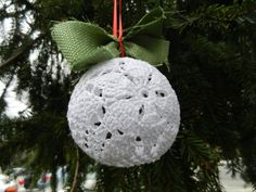 Poinsettia Lace Christmas Ornament pattern by Julia Schwartz Crochet Christmas Ornaments, Christmas Crochet Patterns, Holiday Crochet, Christmas Knitting, Christmas Crafts, Christmas Globes, Christmas Bells, Christmas Baubles, Christmas Poinsettia