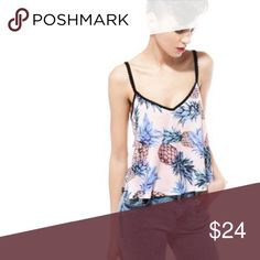 """Bershka Women's Pineapple Print Top Size Small, 100% Viscose, Open strap back with ric rac detailing, Pineapple print, Loose draped fit, V Neck, Bust appts. 18"""" across, Length 21"""", Pre owned great condition! Bershka Tops Blouses"""