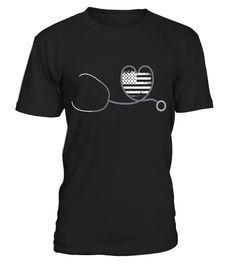 NURSE shirt: Stethoscope Heart - US flag tshirt for Nurse