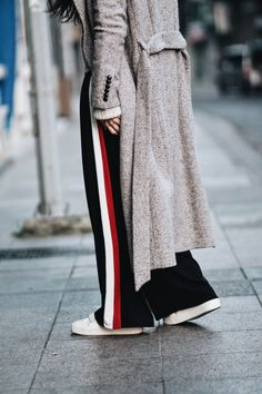 TRACK PANTS & CHUNKY KNIT SWEATER |