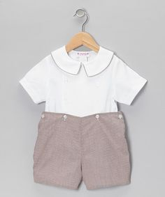 Another great find on #zulily! White Top & Brown Shorts - Toddler by SIMI #zulilyfinds