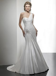 Amazing trumpet / mermaid dropped waist taffeta wedding dress