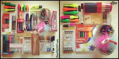 """Decluttering & organizing stationery with Marie Kondo's KonMari Method. 'Before' & 'after' pictures. From the books """"The Life-Changing Magic of Tidying Up"""" and """"Spark Joy"""". CLICK THROUGH to see the rest."""