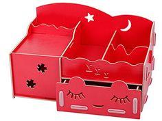 Menu Life Ladies Jewellery Storage Boxes with Paper Box Desk Organiser Drawers Office Desk Storage Boxes Short Eyelash Girl (Red)