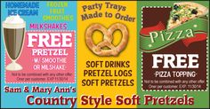 See some of the tasty treats and drinks you can get from Sam & Mary Ann's Country Style Soft Pretzels, just click here.