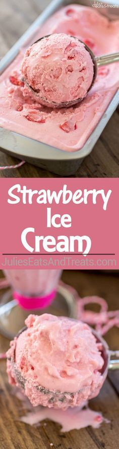 This homemade Strawberry Ice Cream with fresh strawberries! Strawberry Ice Cream Recipe – This homemade ice cream is super creamy and so fresh-tasting thanks to the use of fresh strawberries! Ice Cream Treats, Ice Cream Desserts, Ice Cream Flavors, Frozen Desserts, Ice Cream Recipes, Frozen Treats, Yogurt Ice Cream, Yummy Ice Cream, Frozen Yoghurt