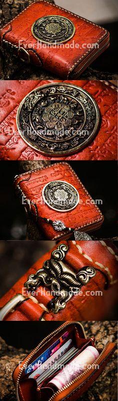 Handmade leather Tibet short biker wallet clutch zip wallet brown Transit wheel