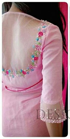New Dress Pink Bridesmaid Colour 49 Ideas Saree Blouse Neck Designs, Simple Blouse Designs, Stylish Blouse Design, Bridal Blouse Designs, Lehenga Designs, Hand Work Blouse, Designer Blouse Patterns, Sarees, Floral Embroidery