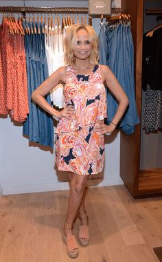 """Spotted: J.Jill's paisley layered dress worn by Kristen Chenoweth in @eentertainment's  """"Shopping With the Stars."""" The Broadway superstar shops the J.Jill Petites collection at the brand's Upper West Side store in New York City."""