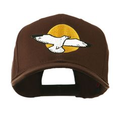 Seagull with Sun Embroidered Cap - Brown
