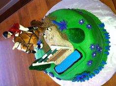 GF cake for my daughter's birthday - with Schleich horse set