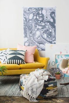 Eclectic Modern Living Room - Paper & Stitch