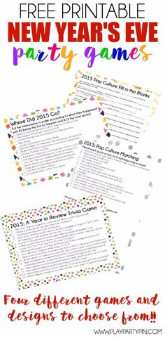 Looking for New Years party ideas? These four great printable New Years Eve Party Games are great party games for teens and adults! Test to see who can match up quotes from popular summer movies or who can tell you when One Direction announced their break New Years Eve Games, New Years Eve Day, New Years Party, New Years Eve Party Ideas For Adults, Summer Party Games, Adult Party Games, Birthday Party Games, Nye Party, New Year's Eve Celebrations