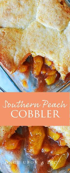 This Best Southern Peach Cobbler is an easy, rustic dessert made from sweet peaches, warm spices and homemade buttermilk biscuit topping baked until the fruit is tender and bubbling and the topping is crisp and golden. Yum! #peachcobbler #southernpeachc