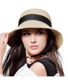b6204b2bb0167 Womens Foldable Summer Sun Beach Straw Hat UPF50 Travel Packable Summer Cap  - Beige With Black