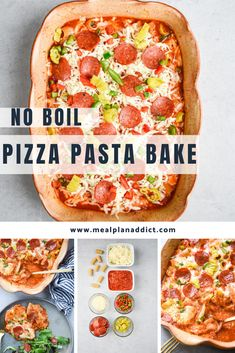 No boil pizza pasta bake has all of your favorite pizza flavors piled up together in a simple casserole! This version is a no boil version, so just load up your casserole dish and bake! Easy Casserole Recipes, Casserole Dishes, Baking Recipes, Snack Recipes, Dinner Recipes, Snacks, Pizza Pasta Bake, Rigatoni Recipes, Pizza Flavors