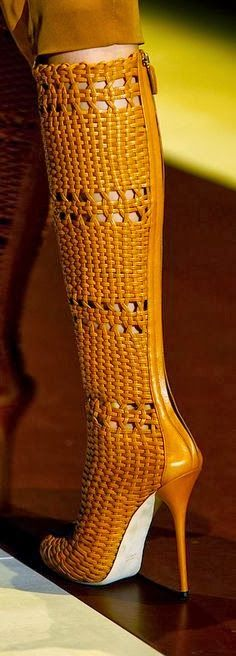 Gucci Woven Boots; I really don't like the color but these are some funky crazy boots.