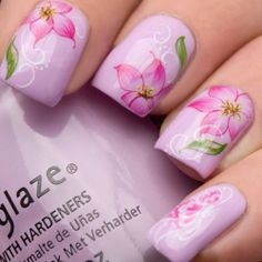 Nail Art Wraps Water Transfers Decals Y105 Pink Flowers Orchid Salon Quality #pink #spring